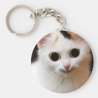 Pussy white Cat Keychain