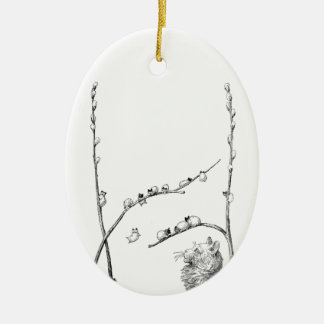 Pussy Willow Kittens and Mother Cat Ceramic Oval Decoration