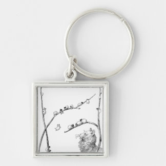 Pussy Willow Kittens and Mother Cat Key Chain
