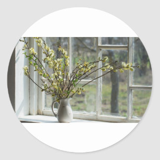 Pussy Willows By The Windowsill Classic Round Sticker