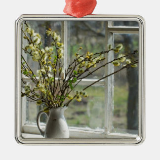 Pussy Willows By The Windowsill Silver-Colored Square Decoration