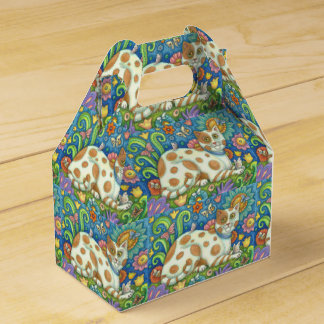 PUSSYCAT O PUSSYCAT, FOLK ART CAT GABLE FAVOR BOX