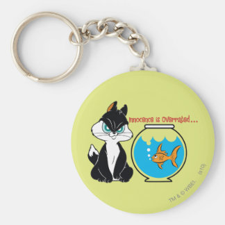 Pussyfoot Grumpy Kitty Basic Round Button Key Ring