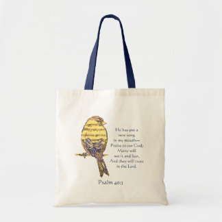 Put a Song in my Heart Bible Scripture Bird Tote Bag