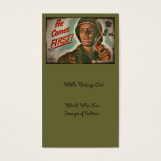 Put Him First WWII Food Rations Business Card