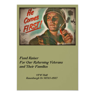 Put Him First WWII Food Rations 13 Cm X 18 Cm Invitation Card