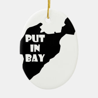 Put In Bay Island Ohio Silhouette Logo with Text Ceramic Ornament