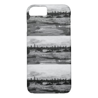 Put-n-Bay Black and White boat painting iPhone 8/7 Case