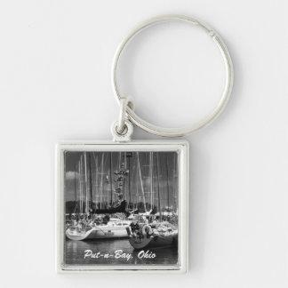 Put-n-Bay Black and White boat photo keychain