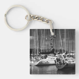 Put-n-Bay Boats black and white photo Double-Sided Square Acrylic Key Ring