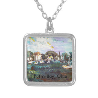 Put-n-Bay Lake Erie Island Painting #2 Square Pendant Necklace