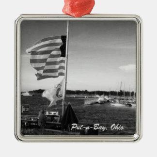Put-n-Bay, Ohio American Flag Boat Ornament