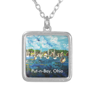 Put-n-Bay Painting #1 Square Pendant Necklace