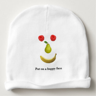 Put on a happy face baby beanie