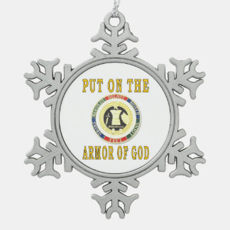 PUT ON THE ARMOR OF GOD SNOWFLAKE PEWTER CHRISTMAS ORNAMENT