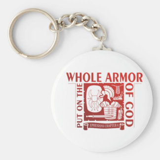 PUT ON THE WHOLE ARMOR OF GOD BASIC ROUND BUTTON KEY RING