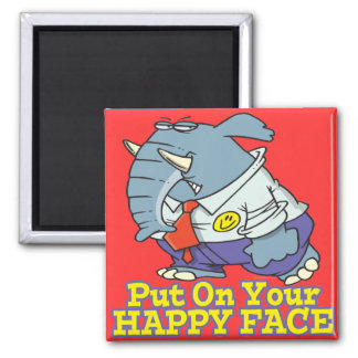 put on your happy face facade elephant magnet