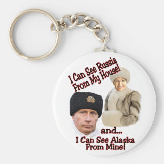Putin and Palin Basic Round Button Key Ring