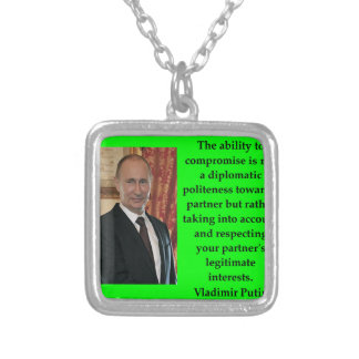 putin quote silver plated necklace
