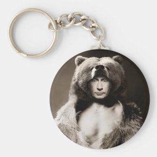 Putin the Bear Basic Round Button Key Ring