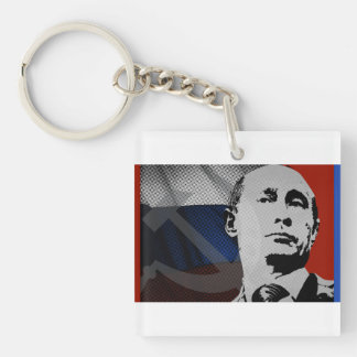 Putin with Russian Flag Double-Sided Square Acrylic Key Ring