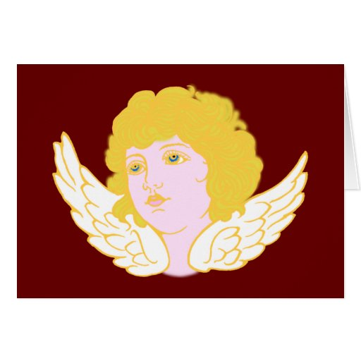 Putte putto angel fishing rod greeting cards