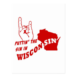 Puttin' The Sin In Wisconsin Postcard