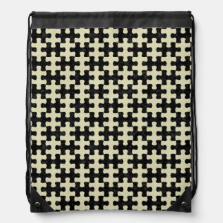 PUZZLE1 BLACK MARBLE & BEIGE LINEN DRAWSTRING BAG