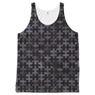 PUZZLE1 BLACK MARBLE & BLACK WATERCOLOR All-Over PRINT SINGLET