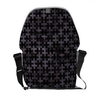 PUZZLE1 BLACK MARBLE & BLACK WATERCOLOR MESSENGER BAGS