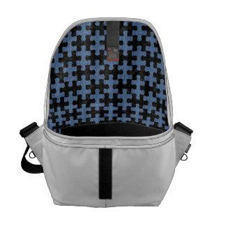 PUZZLE1 BLACK MARBLE & BLUE DENIM COURIER BAG