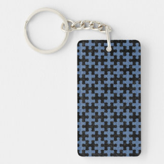 PUZZLE1 BLACK MARBLE & BLUE DENIM KEY RING