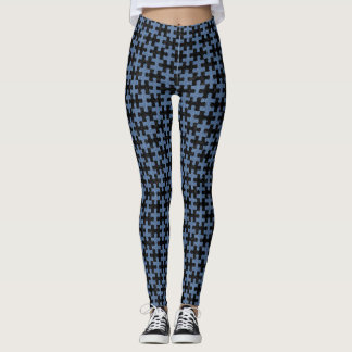 PUZZLE1 BLACK MARBLE & BLUE DENIM LEGGINGS