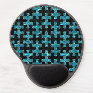 PUZZLE1 BLACK MARBLE & BLUE-GREEN WATER GEL MOUSE PAD
