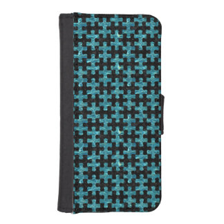 PUZZLE1 BLACK MARBLE & BLUE-GREEN WATER iPhone SE/5/5s WALLET CASE