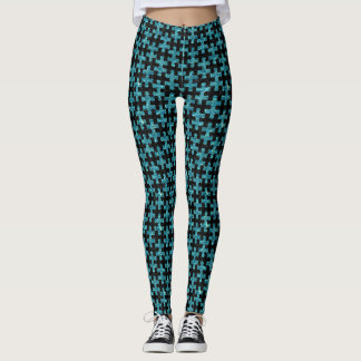 PUZZLE1 BLACK MARBLE & BLUE-GREEN WATER LEGGINGS
