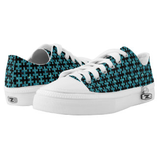 PUZZLE1 BLACK MARBLE & BLUE-GREEN WATER LOW TOPS