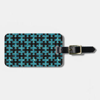 PUZZLE1 BLACK MARBLE & BLUE-GREEN WATER LUGGAGE TAG