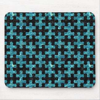 PUZZLE1 BLACK MARBLE & BLUE-GREEN WATER MOUSE PAD