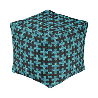 PUZZLE1 BLACK MARBLE & BLUE-GREEN WATER POUF