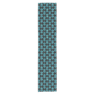PUZZLE1 BLACK MARBLE & BLUE-GREEN WATER SHORT TABLE RUNNER