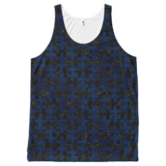PUZZLE1 BLACK MARBLE & BLUE GRUNGE All-Over PRINT SINGLET