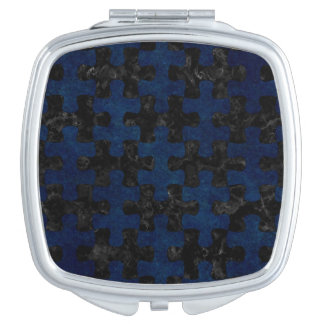 PUZZLE1 BLACK MARBLE & BLUE GRUNGE COMPACT MIRRORS