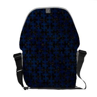 PUZZLE1 BLACK MARBLE & BLUE GRUNGE MESSENGER BAG