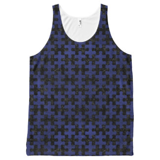 PUZZLE1 BLACK MARBLE & BLUE LEATHER All-Over PRINT SINGLET
