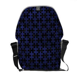 PUZZLE1 BLACK MARBLE & BLUE LEATHER COMMUTER BAGS