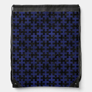 PUZZLE1 BLACK MARBLE & BLUE LEATHER DRAWSTRING BAG