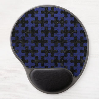 PUZZLE1 BLACK MARBLE & BLUE LEATHER GEL MOUSE PAD