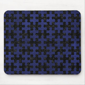 PUZZLE1 BLACK MARBLE & BLUE LEATHER MOUSE PAD