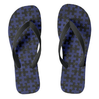 PUZZLE1 BLACK MARBLE & BLUE LEATHER THONGS